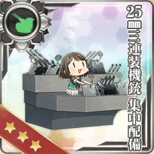 25mm三連装機銃 集中配備