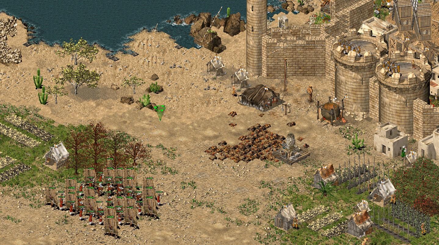 アラビア弓兵と石弓兵と防護壁を20ずつ揃えて撃ち合う様子